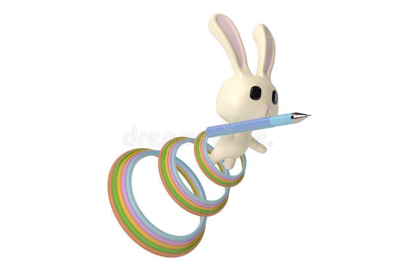 Ένα λαγουδάκι κινούμενων σχεδίων με μια μάνδρα, τρισδιάστατη απεικόνιση ελεύθερη απεικόνιση δικαιώματος