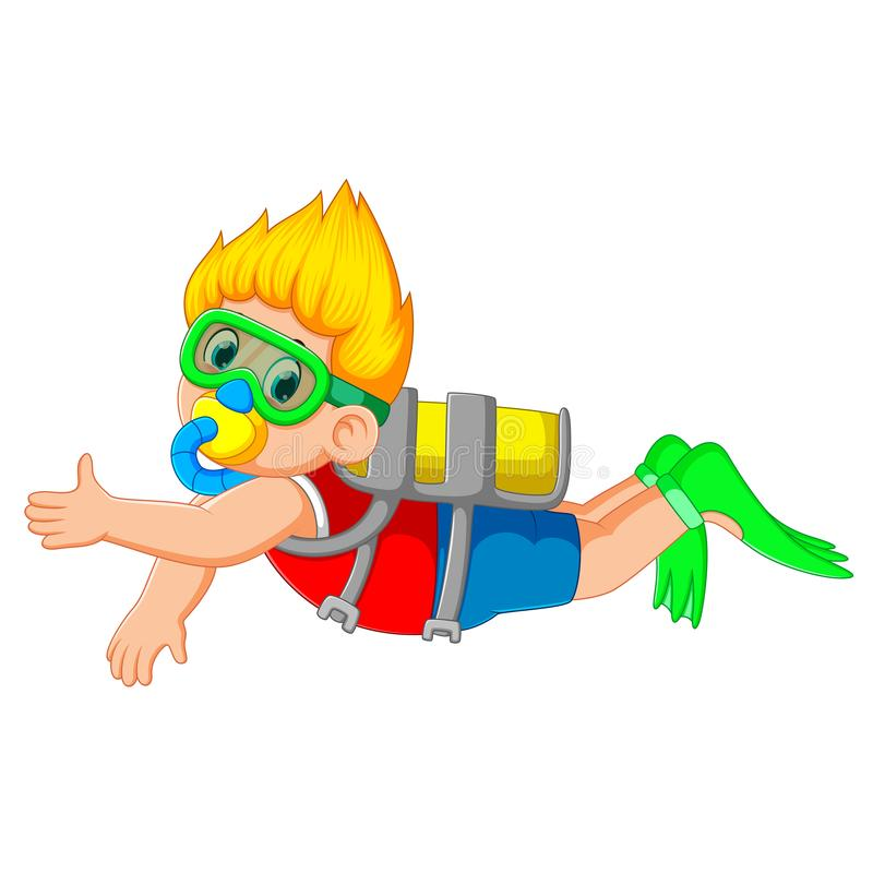 Ένα αγόρι βουτά με τα πράσινα κολυμπώντας γυαλιά απεικόνιση αποθεμάτων