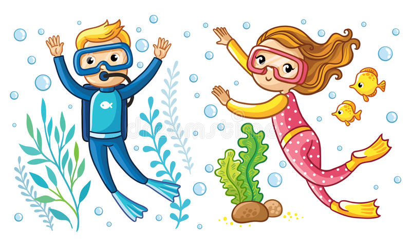 Ένα αγόρι και ένα κορίτσι κολυμπούν κάτω από το νερό σε ένα σκάφανδρο βουτώντας με τα ψάρια ελεύθερη απεικόνιση δικαιώματος