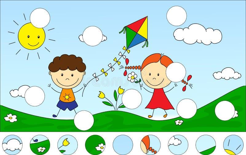 Ένα αγόρι και ένα κορίτσι που παίζουν στο λιβάδι και που προωθούν έναν ικτίνο COM απεικόνιση αποθεμάτων
