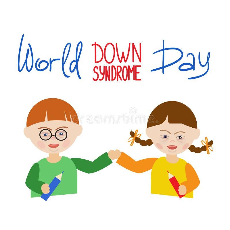 Ένα αγόρι και ένα κορίτσι με το κάτω σύνδρομο κρατούν τα χέρια Κόσμος επιγραφής κάτω από την ημέρα συνδρόμου ελεύθερη απεικόνιση δικαιώματος