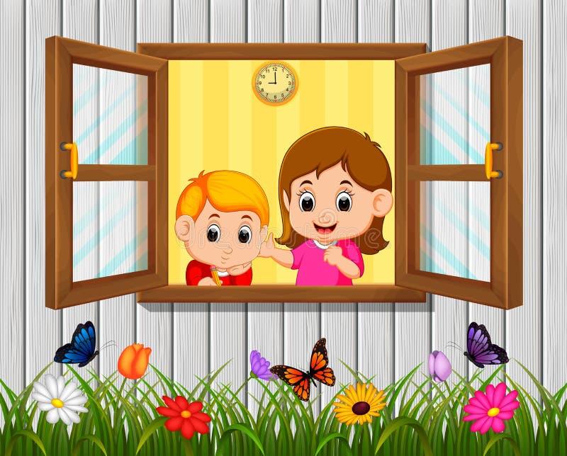 ένα αγόρι και μια μητέρα στο παράθυρο διανυσματική απεικόνιση