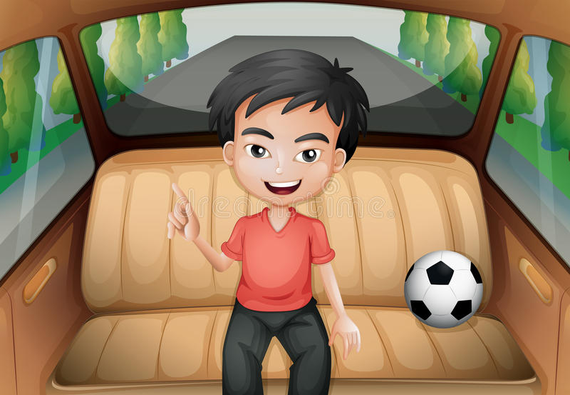 Ένα αγόρι μέσα στο αυτοκίνητο με μια σφαίρα ποδοσφαίρου διανυσματική απεικόνιση