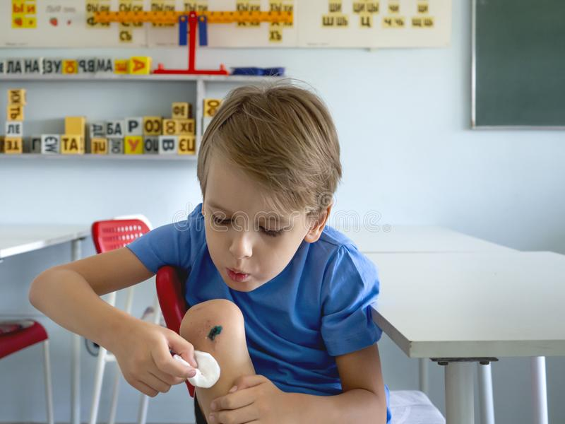 Ένα αγόρι με ένα σπασμένο γόνατο φυσά στην πληγή Παιδιά που τραυματίζονται, ασφάλεια υγείας, πρώτες βοήθειες, φροντίδα των παιδιώ στοκ φωτογραφία με δικαίωμα ελεύθερης χρήσης