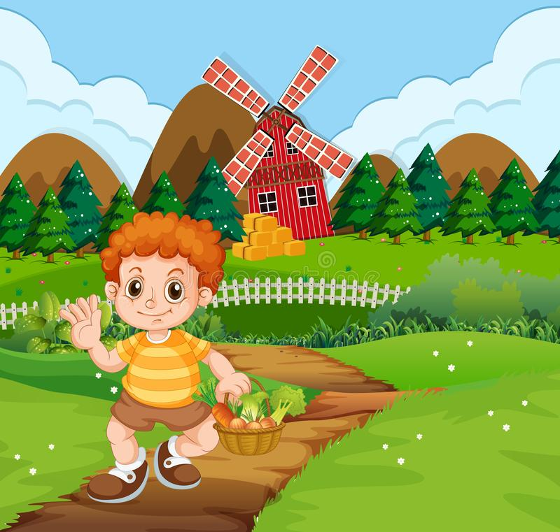 Ένα αγόρι με το φυτικό καλάθι στο αγρόκτημα διανυσματική απεικόνιση