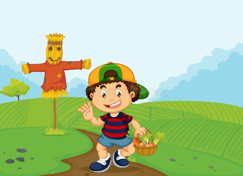 Ένα αγόρι με το φυτικό καλάθι απεικόνιση αποθεμάτων
