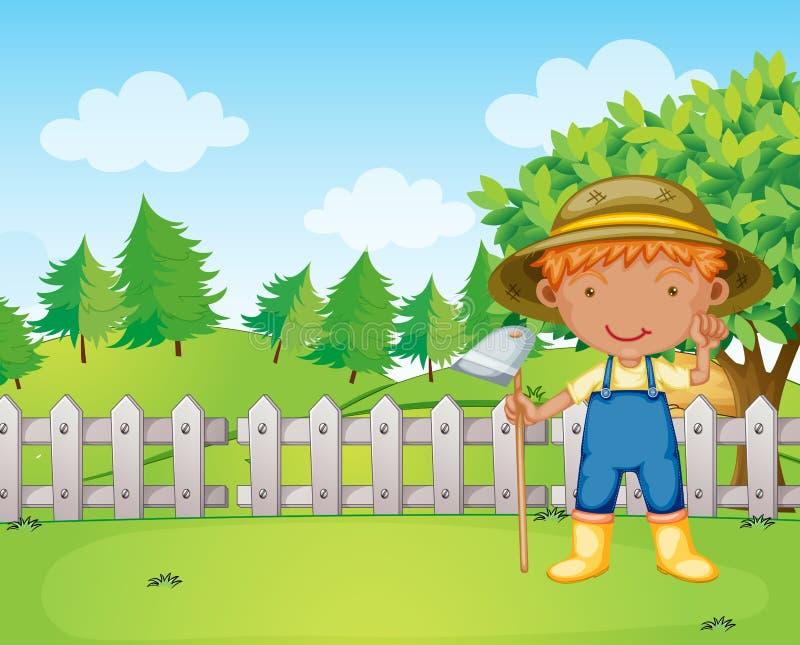 Ένα αγόρι που κρατά μια τσουγκράνα απεικόνιση αποθεμάτων