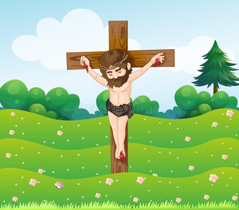 Ένα αγόρι που κρεμά στο σταυρό ελεύθερη απεικόνιση δικαιώματος