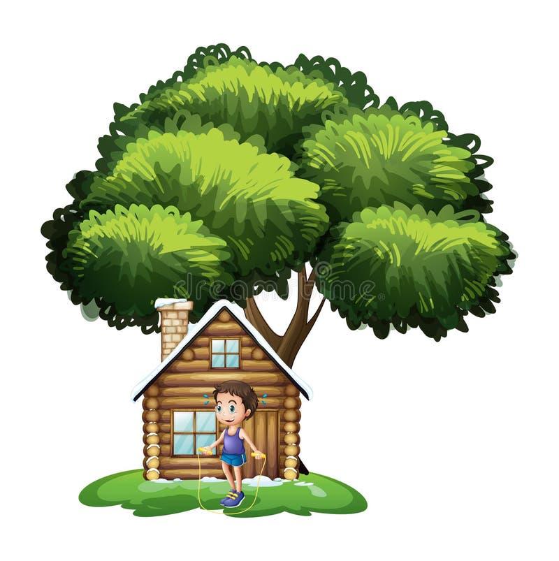 Ένα αγόρι που παίζει έξω από το ξύλινο σπίτι απεικόνιση αποθεμάτων
