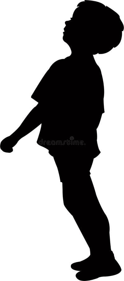 Ένα αγόρι που στέκεται, διάνυσμα σκιαγραφιών σωμάτων απεικόνιση αποθεμάτων