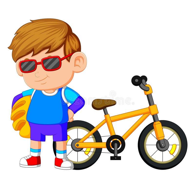 Ένα αγόρι που στέκεται στο ποδήλατο διανυσματική απεικόνιση