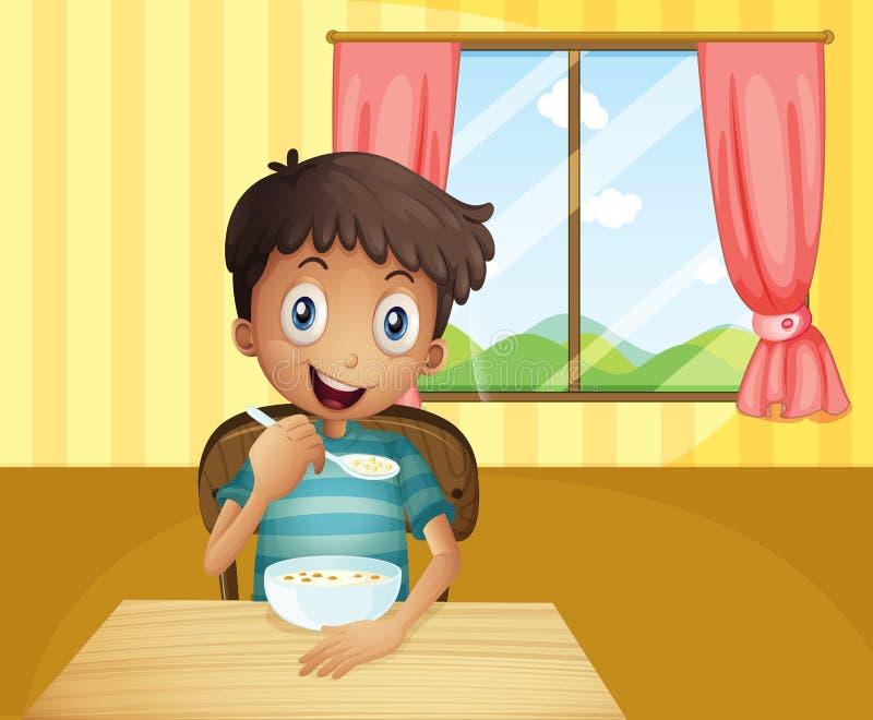 Ένα αγόρι που τρώει τα δημητριακά μέσα στο σπίτι διανυσματική απεικόνιση
