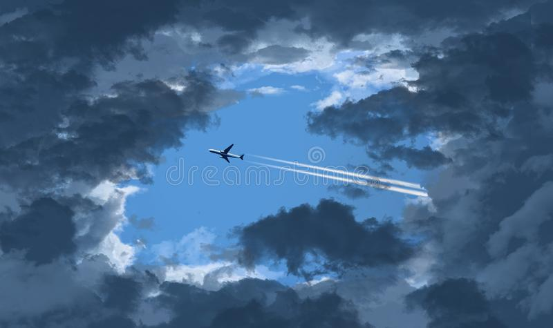 Ένα αεριωθούμενο επιβατηγό αεροσκάφος βλέπει μέσω ενός ανοίγματος στα σκουραίνοντας σύννεφα όπως πετά πέρα από έναν ειδάλλως μπλε διανυσματική απεικόνιση