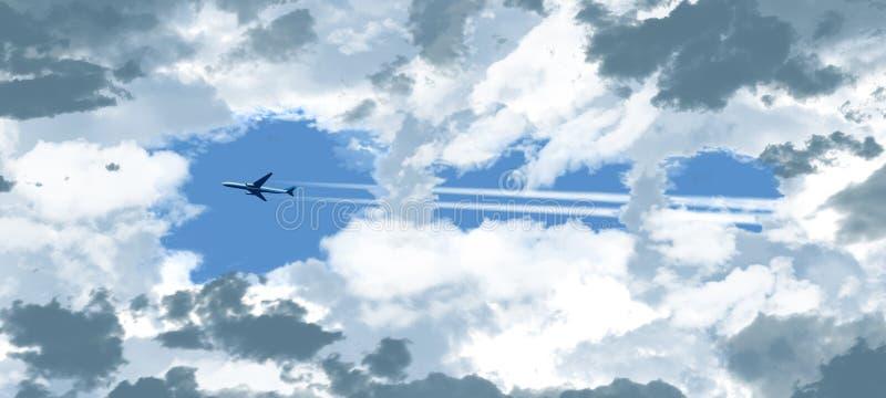 Ένα αεριωθούμενο επιβατηγό αεροσκάφος βλέπει μέσω ενός ανοίγματος στα σκουραίνοντας σύννεφα όπως πετά πέρα από έναν ειδάλλως μπλε στοκ φωτογραφία με δικαίωμα ελεύθερης χρήσης