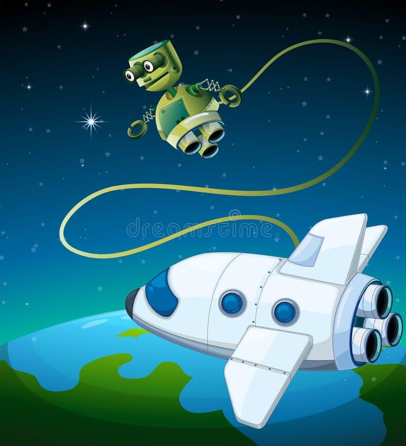 Ένα αεροσκάφος και ένα ρομπότ στο outerspace διανυσματική απεικόνιση