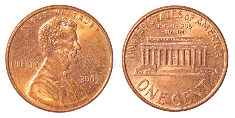 Ένα αμερικανικό νόμισμα σεντ στοκ εικόνες