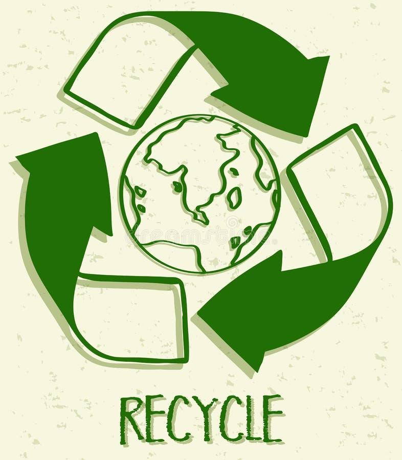 Ένα ανακύκλωσης εικονίδιο στο άσπρο υπόβαθρο απεικόνιση αποθεμάτων