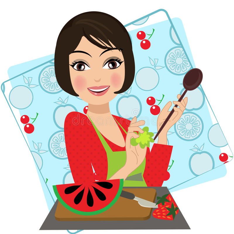 Ένα αναδρομικό εκλεκτής ποιότητας πορτρέτο ενός μαγειρέματος κουταλιών εκμετάλλευσης γυναικών διανυσματική απεικόνιση