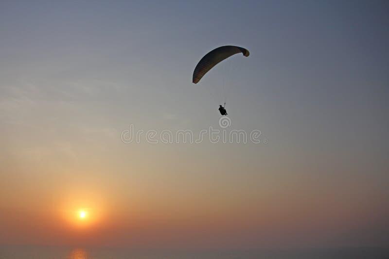 Ένα ανεμόπτερο στα πλαίσια της θάλασσας και του ηλιοβασιλέματος ή daw στοκ φωτογραφία