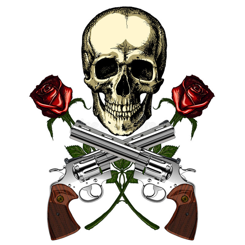 Ένα ανθρώπινο κρανίο με δύο πυροβόλα όπλα και δύο κόκκινα τριαντάφυλλα απεικόνιση αποθεμάτων