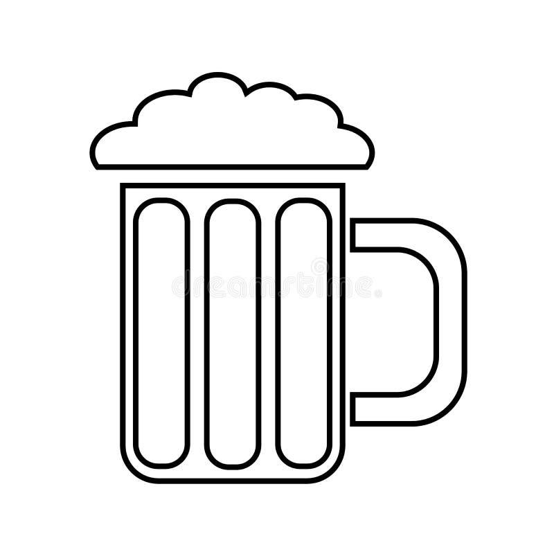 Ένα απλό αφηρημένο γραπτό εικονίδιο από μια κούπα, ένα ποτήρι της φρέσκιας, foamy, νόστιμης, αναζωογονώντας μπύρας και του διαστή διανυσματική απεικόνιση