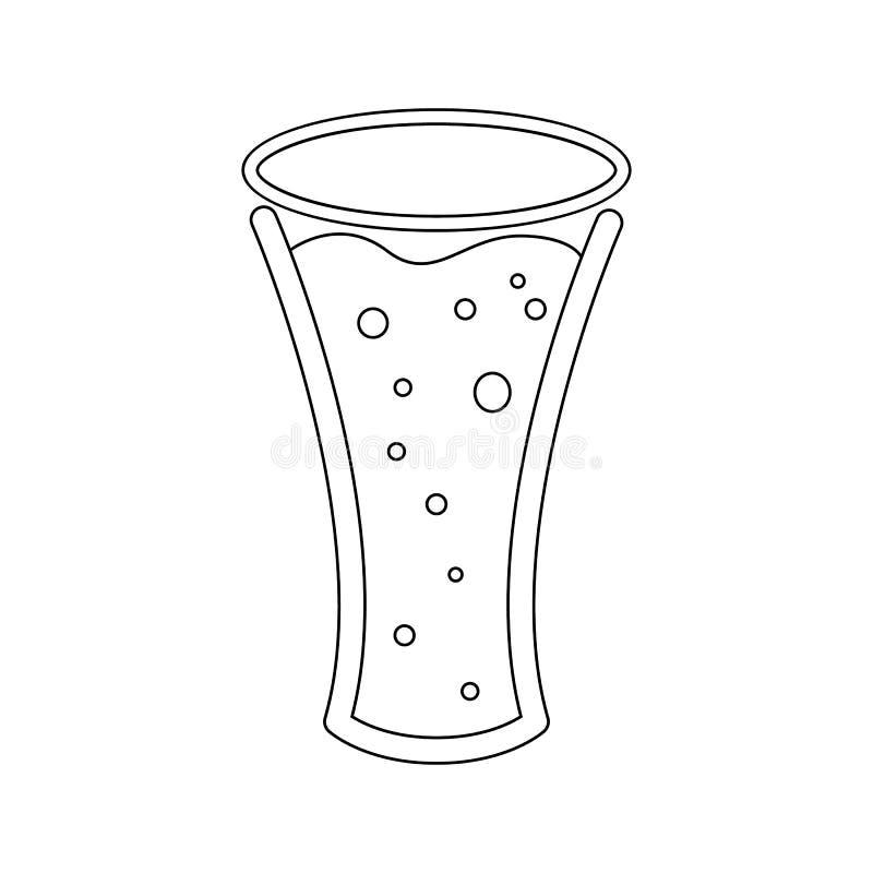 Ένα απλό αφηρημένο γραπτό εικονίδιο από μια κούπα, ένα ποτήρι της φρέσκιας, foamy, νόστιμης, αναζωογονώντας μπύρας και του διαστή ελεύθερη απεικόνιση δικαιώματος
