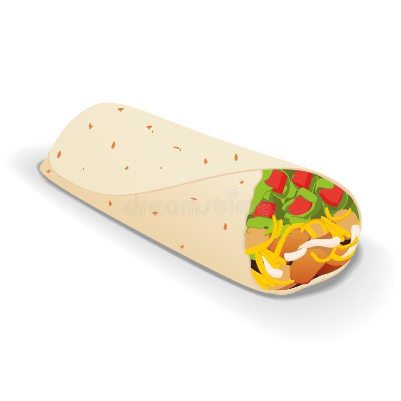 Ένα απομονωμένο νόστιμο burrito σε ένα άσπρο υπόβαθρο απεικόνιση αποθεμάτων