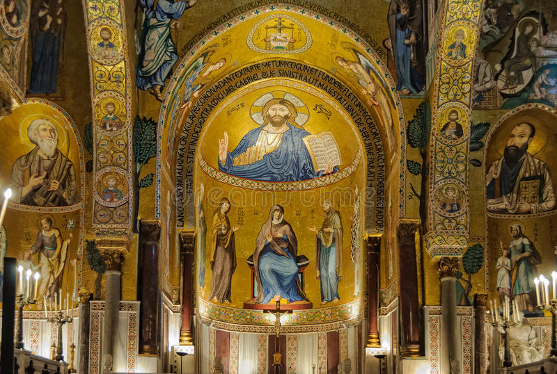 Ένα από τα τρία apses Cappella Palatina - του Παλέρμου στοκ φωτογραφία