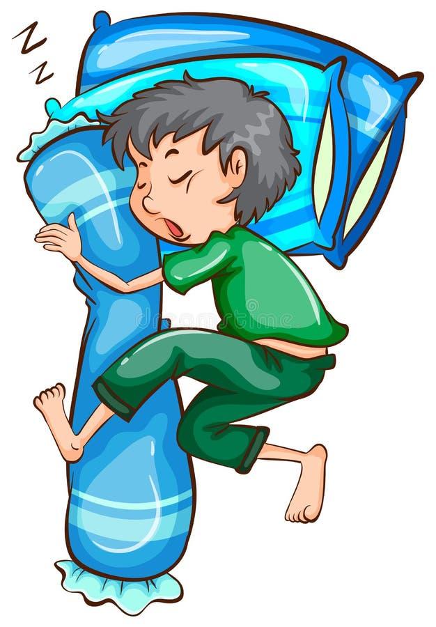 Ένα απλό σκίτσο ενός νεαρού άνδρα ύπνου διανυσματική απεικόνιση