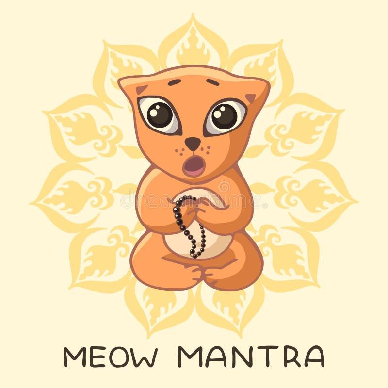 Ένα αστείο κόκκινο γατάκι γιόγκη κάθεται σε έναν λωτό θέτει και τραγουδά μια μάντρα με μια επιγραφή και ένα mandala απεικόνιση αποθεμάτων