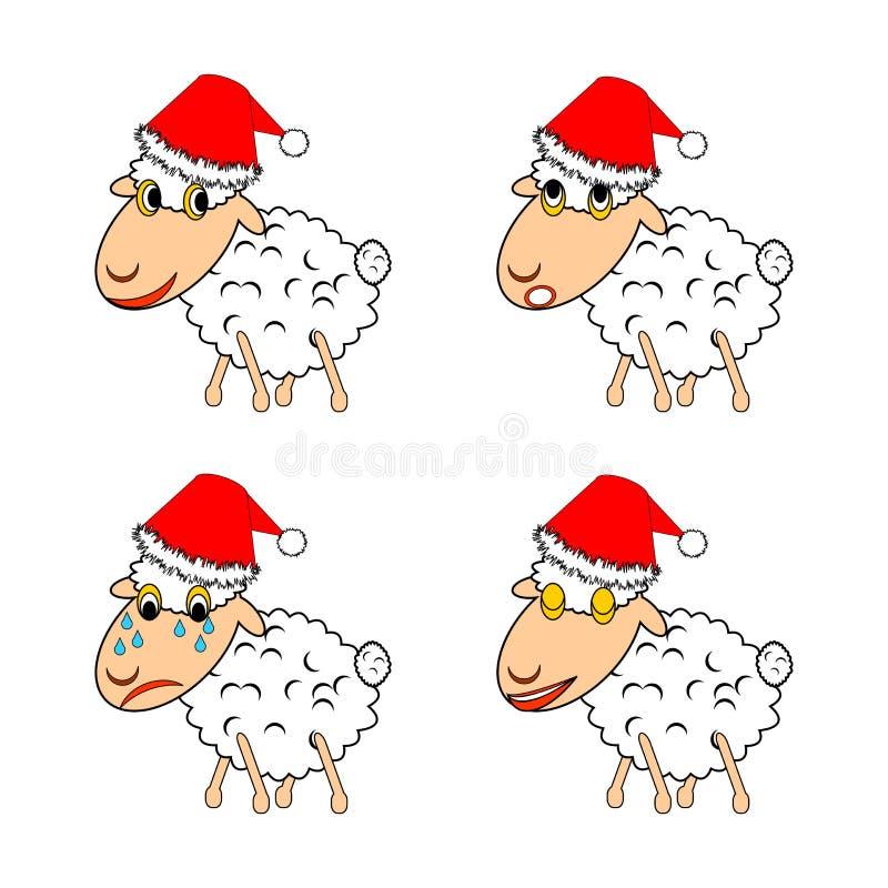 Ένα αστείο πρόβατο Χριστουγέννων που εκφράζει το διαφορετικό emoti διανυσματική απεικόνιση