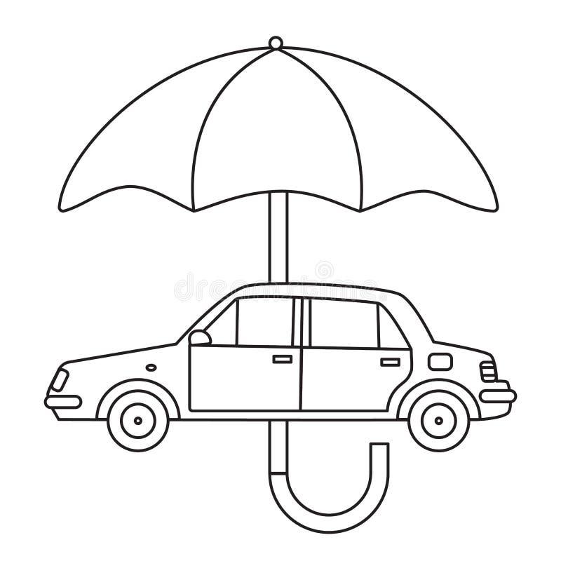 Ένα αυτοκίνητο κάτω από μια ομπρέλα διανυσματική απεικόνιση