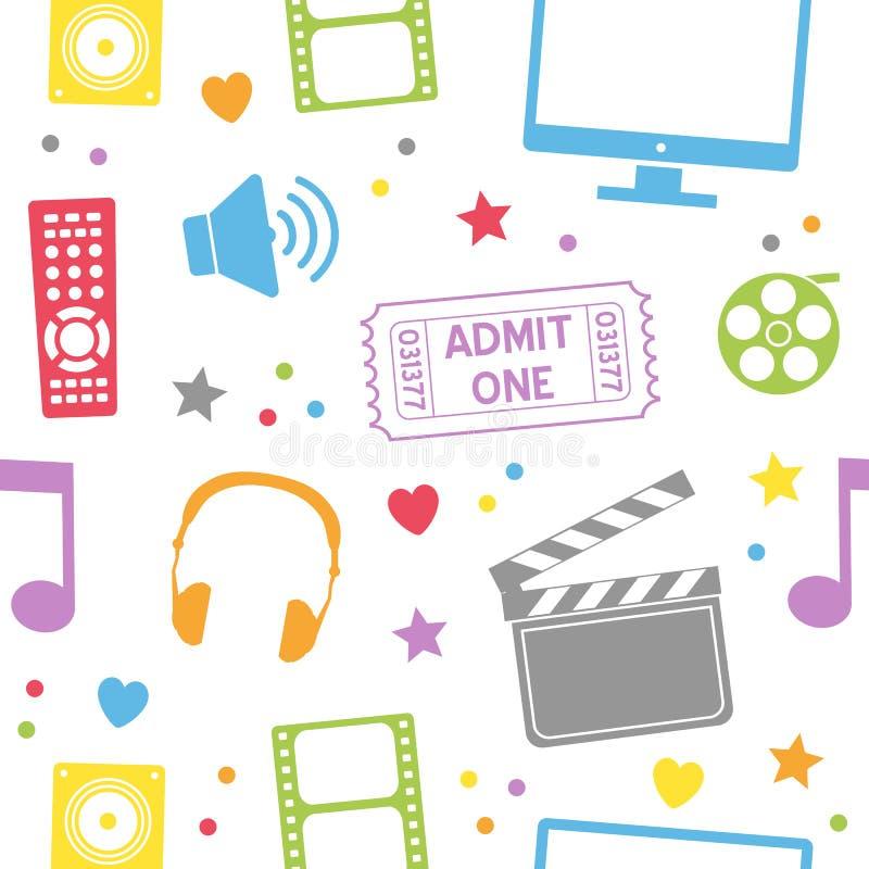 Άνευ ραφής σχέδιο κινηματογράφων κινηματογράφων απεικόνιση αποθεμάτων