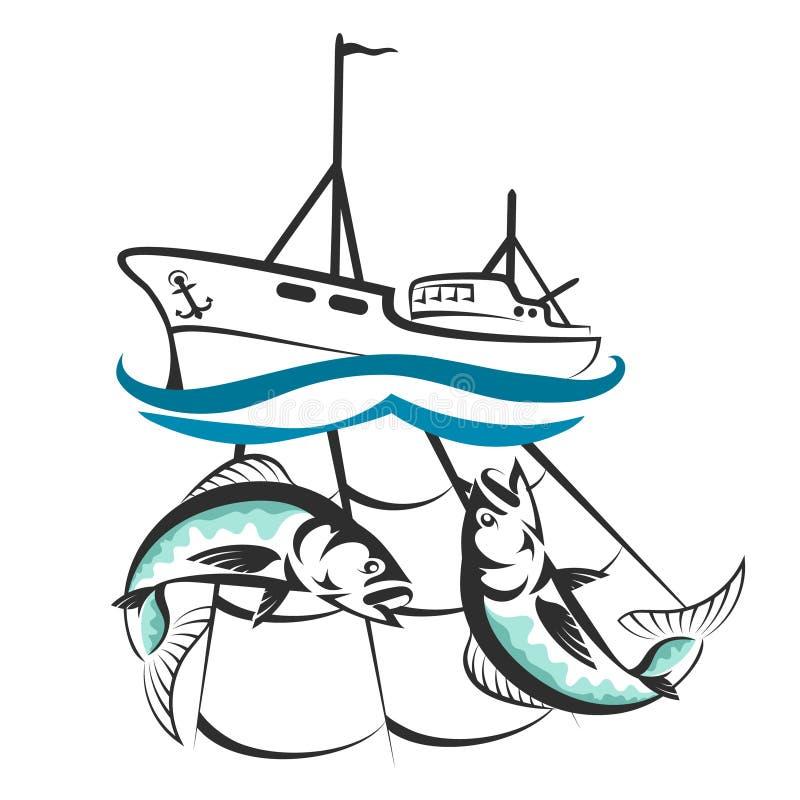 Ένα αλιευτικό σκάφος με μια σκιαγραφία σύλληψης ελεύθερη απεικόνιση δικαιώματος