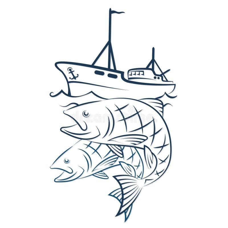Ένα αλιευτικό σκάφος με μια σύλληψη απεικόνιση αποθεμάτων