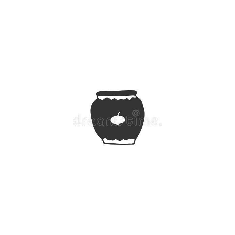 Ένα βάζο της μαρμελάδας, στοιχείο λογότυπων κουζινών Διανυσματικό συρμένο χέρι αντικείμενο διανυσματική απεικόνιση
