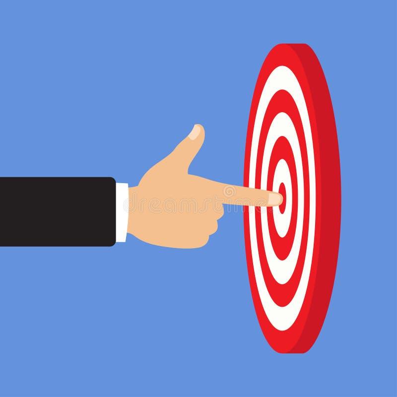 Ένα βέλος είναι στο κέντρο ενός dartboard να είστε επιλεγμένος άνθρωποι στόχος έννοιας κεντρικών κύκλων αποστολή πλήρης, επιχειρη ελεύθερη απεικόνιση δικαιώματος