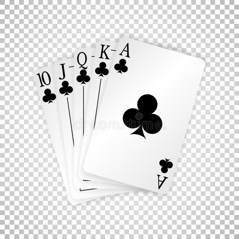Ένα βασιλικό ευθύ επίπεδο πόκερ καρτών παιχνιδιού παραδίδει τις λέσχες διανυσματική απεικόνιση