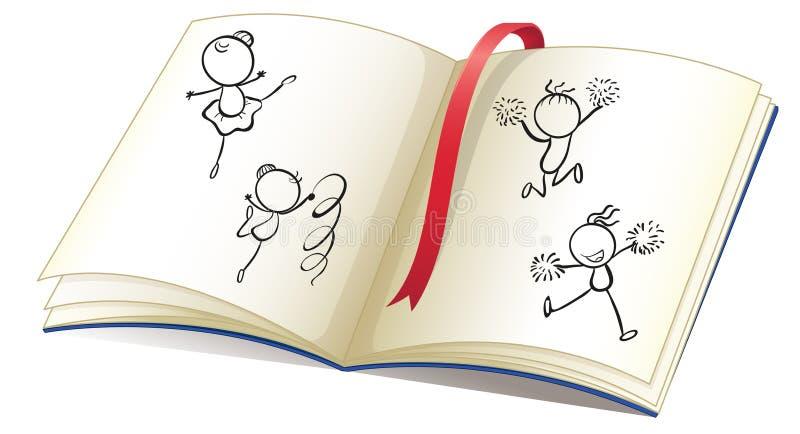 Ένα βιβλίο με μια κορδέλλα και τις εικόνες του χορού παιδιών απεικόνιση αποθεμάτων