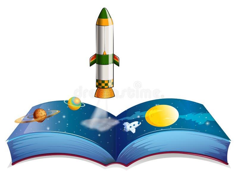 Ένα βιβλίο με τους πλανήτες και έναν πύραυλο απεικόνιση αποθεμάτων