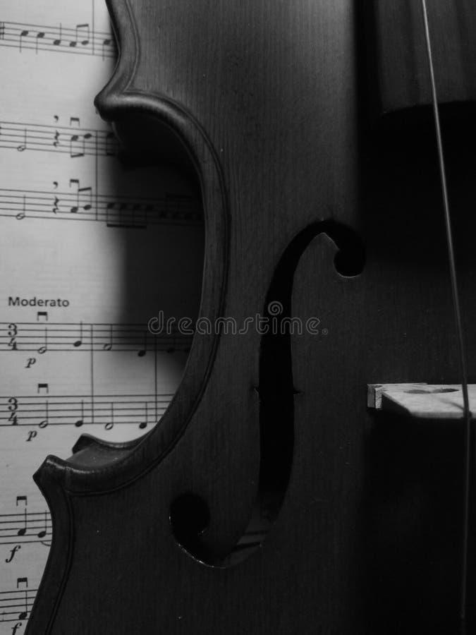 Ένα βιολί στη μουσική φύλλων στοκ εικόνες με δικαίωμα ελεύθερης χρήσης