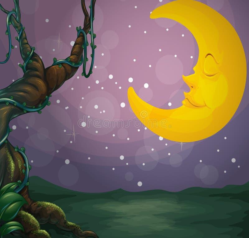 Ένα γιγαντιαίο δέντρο και ένα φεγγάρι ύπνου διανυσματική απεικόνιση