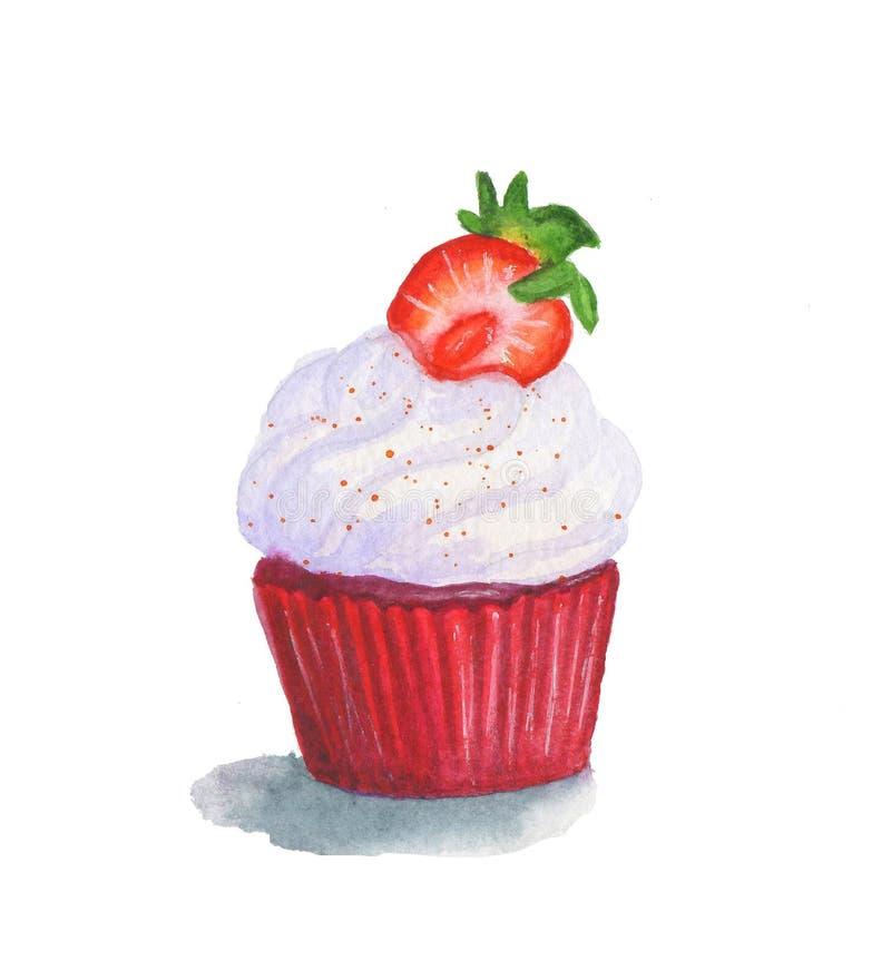 Ένα γλυκό watercolor που σύρεται cupcake με τη βουτύρου κρέμα βανίλιας και stawberry στο κόκκινο περιτύλιγμα ελεύθερη απεικόνιση δικαιώματος