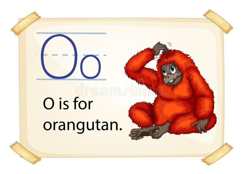 Ένα γράμμα Ο για orangutan διανυσματική απεικόνιση