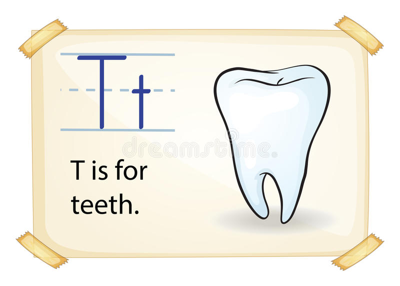 Ένα γράμμα Τ για το δόντι διανυσματική απεικόνιση