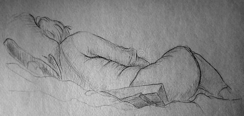 Ένα γρήγορο σκίτσο μολυβιών μιας γυναίκας που βρίσκεται στα ενδύματα Άποψη από την πλάτη στοκ εικόνες