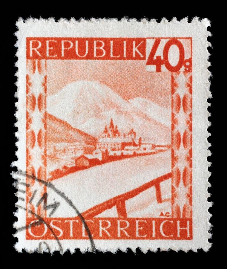 Ένα γραμματόσημο που τυπώνεται Mariazell στην Αυστρία παρουσιάζει στοκ φωτογραφία με δικαίωμα ελεύθερης χρήσης
