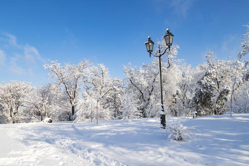 Ένα γραφικό χειμερινό τοπίο νησιών μοναστηριών, πάρκο που καλύπτεται με το χιόνι, με ένα όμορφο φανάρι στην πόλη Dnipro στοκ φωτογραφία
