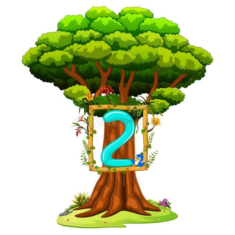 Ένα δέντρο με έναν αριθμό δύο αριθμός για ένα άσπρο υπόβαθρο διανυσματική απεικόνιση