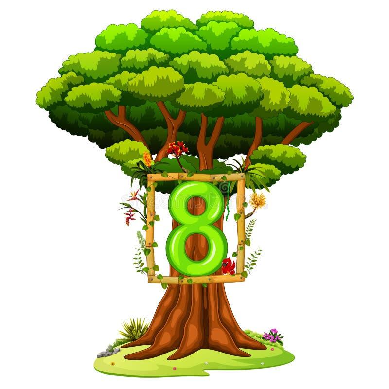 Ένα δέντρο με έναν αριθμό οκτώ αριθμός για ένα άσπρο υπόβαθρο απεικόνιση αποθεμάτων